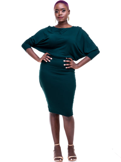 Vivo Tolani Jersey Dress - Dark Green - Shop Zetu