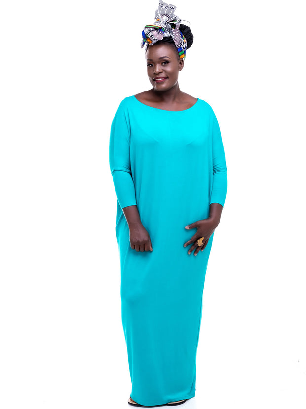 Sowairina Lea Maternity Maxi Kaftan - Sea Green - Shop Zetu