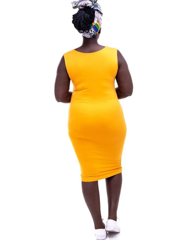 Vivo Basic Double Layered High Cowl Bodycon - Mustard