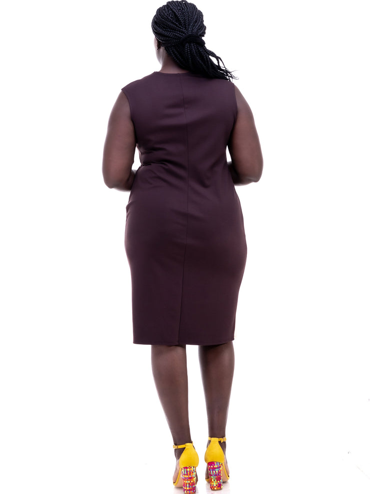 Vivo Tinola Sheath Dress - Chocolate/Buttermilk - Shop Zetu