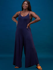 Vivo Jersey Strappy Jumpsuit - Navy Blue