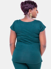Sowairina Lea Cap Sleeve Top - Dark Green