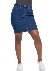Amaya Basic Straight Skirt With Back Slit - Indigo