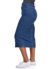 Amaya Ladies' Midi Skirt with Front Slit - Indigo