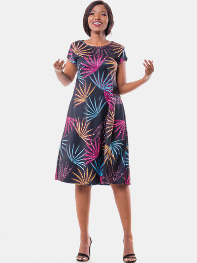 Vivo Tuni Cap Sleeve Tent Dress - Black Print