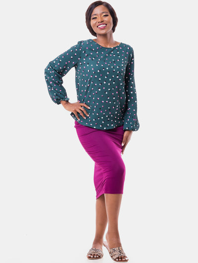 Vivo Basic Ayo Top - Green Print - Shop Zetu