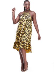 Vivo Lindi Knee Length Dress - Mustard Print