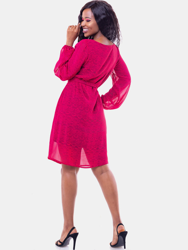 Vivo Zawadi Shift Dress - Red Print