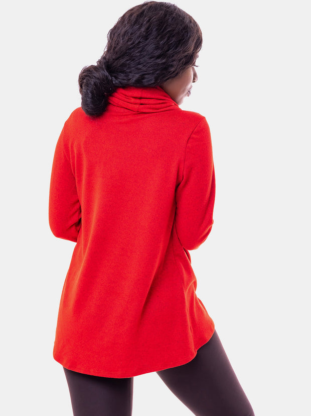 Vivo Basic Tulip Sweater - Red