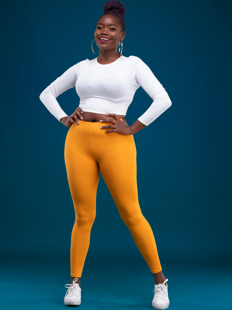 Zoya Basic Full Length Leggings - Mustard