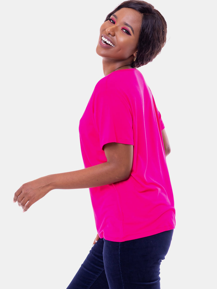 Vivo V-Neck T-Shirt - Pink