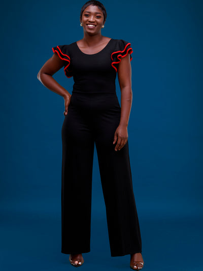 Vivo Iman Jumpsuit - Black / Red