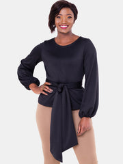 Vivo Olivia Bishop Sleeve Top - Black - Shop Zetu