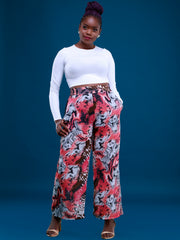 Vivo Basic Tiwi Pants - Pink / Grey Print