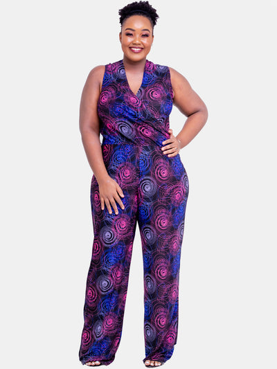 Vivo Sleeveless Faux Wrap Jumpsuit - Blue