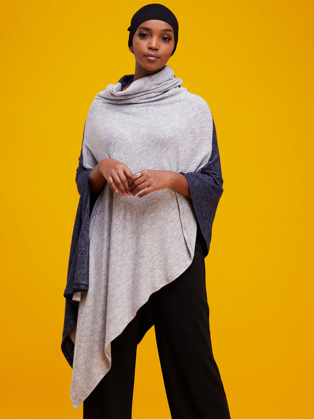 Vivo Zuri Asymmetric Poncho - Navy / Grey