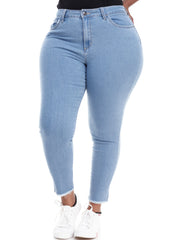 Amaya Ladies Skinny Jeans with Fray - Light Blue