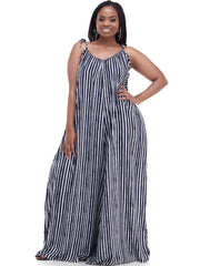 Vivo Diani Strappy Jumpsuit - Navy / White Stripes