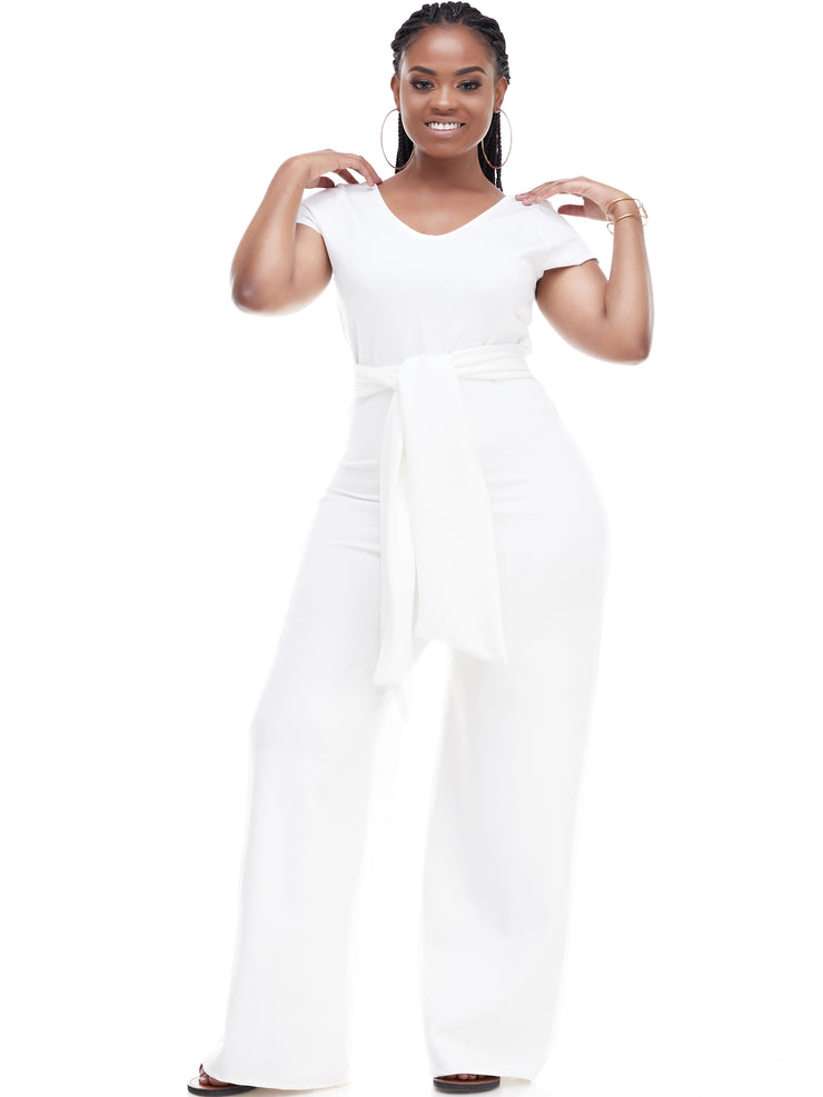 Vivo Diani Short Sleeved Jumpsuit - White
