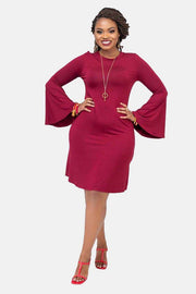 Vivo Flounce Sheath Dress - Maroon