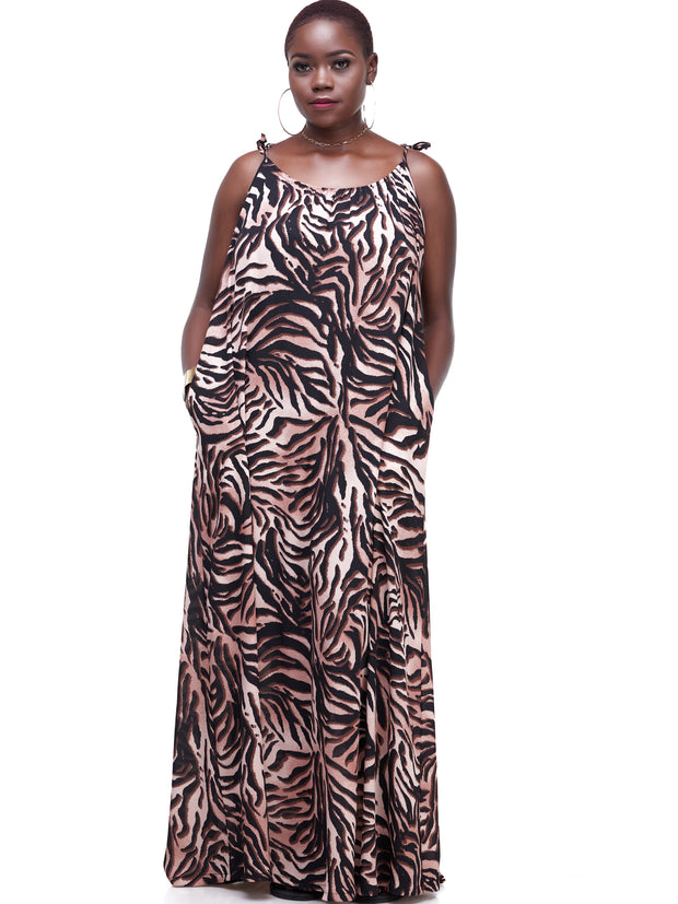 Vivo Diani Strappy Maxi Dress - Brown Tiger Print