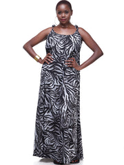Vivo Diani Strappy Maxi Dress - Grey Tiger Print