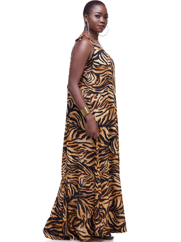 Vivo Diani Strappy Maxi Dress - Mustard Tiger Print