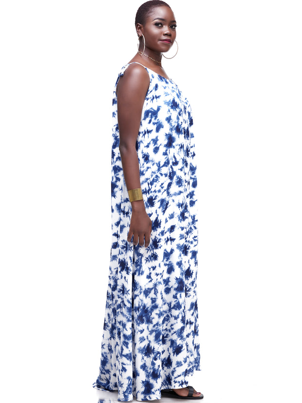 Vivo Diani Strappy Maxi Dress - Blue / White Print