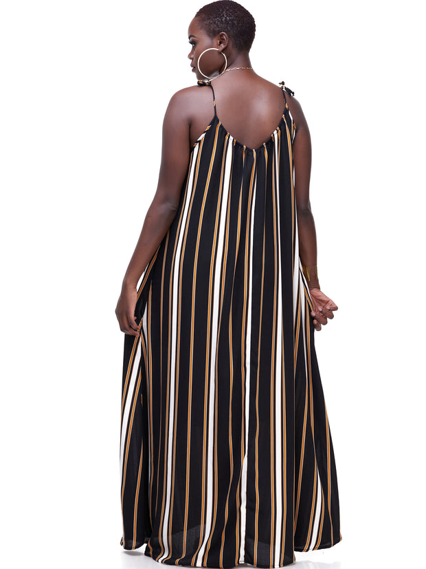 Vivo Diani Strappy Maxi Dress - Mustard / Black Print