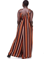 Vivo Diani Strappy Jumpsuit - Rust Print