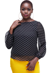 Vivo Basic Cory Top - Black Polka