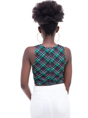 Zetu Scuba Halter-Neck Crop Top - Green Print - Shop Zetu
