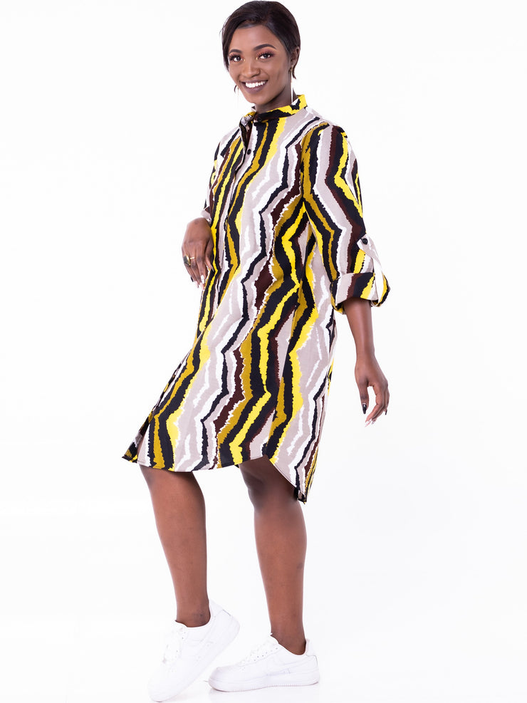 African Yuva Naeku Shirt Dress - White/Mustard Print - Shop Zetu
