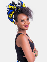Nywele Chronicles Mila Wrap - Royal Blue Print