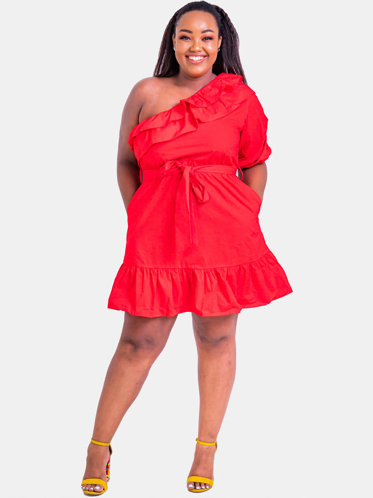 Velvet Off Shoulder Midi Dress - Red - Shop Zetu
