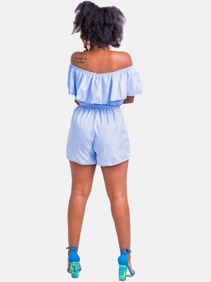 Velvet Striped Off Shoulder Playsuit - Blue Stripes - Shop Zetu