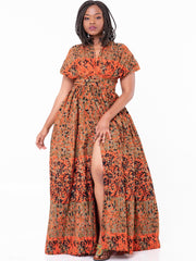 African Yuva Twiga Infinity Maxi Dress - Brown/Red Print - Shop Zetu