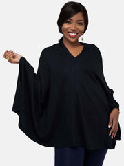 Vivo Off Shoulder Poncho - Black