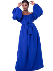 African Yuva Wakio Off Shoulder Maxi Dress - Royal Blue - Shop Zetu