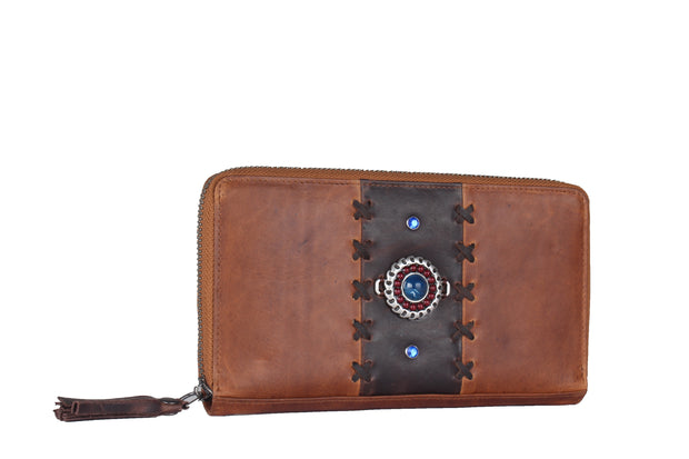 Ranks Leather Ladies' Purse - Brown Beaded