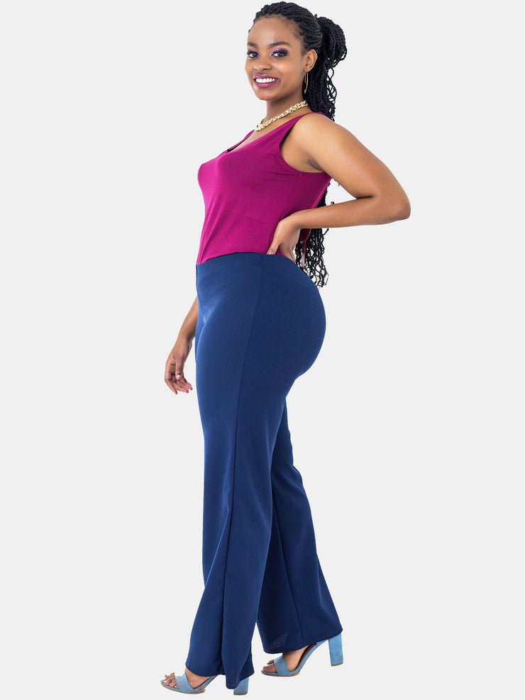 Vivo Escape Wide Leg Pants - Navy Blue - Shop Zetu