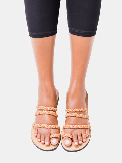 Ikwetta Braided Slip-on Sandals - Beige - Shop Zetu