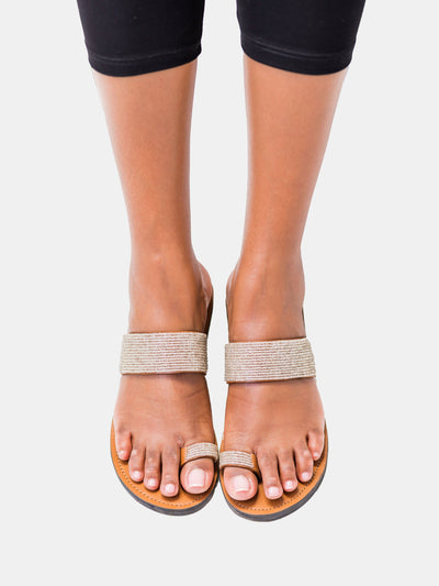 Ikwetta Toe Strap Sandals - Silver - Shop Zetu