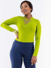 Vivo Mock neck Bodysuit - Lime Green - Shop Zetu