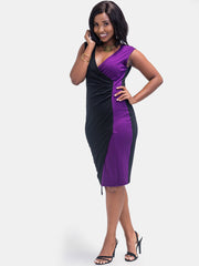 Sowairina ZaRa Asymmetrical Dress - Black & Purple
