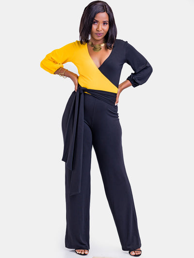 Sowairina ZaRa Crossover Jumpsuit - Black and Yellow