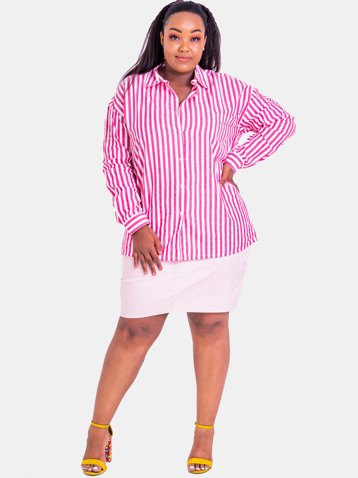 Velvet Striped Shirt Top - Pink - Shop Zetu