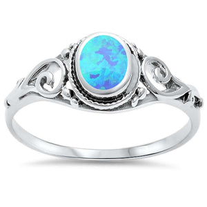 Opal Filigree Sterling Silver Ring