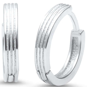 Triple Groove Huggie Hoop Sterling Silver Earrings