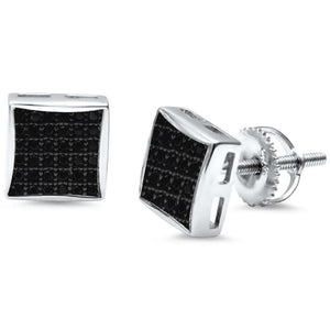 Princess Cut Micro Paved Screw Back Sterling Silver Earrings
